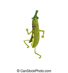 Cheerful Green Peas Running, Cute Vegetable Character with Funny Face Vector Illustration