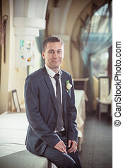 Cheerful groom