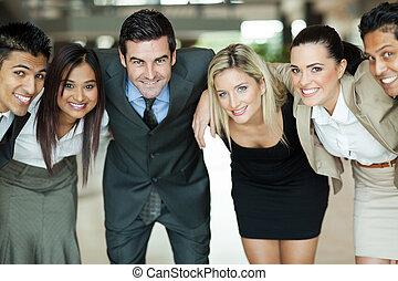 business people huddling