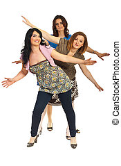 Cheerful group of women with hands up