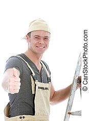 Cheerful handyman giving a thumbs up