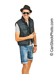 Cheerful hip hop guy - Cheerful hip hop man with hat and...