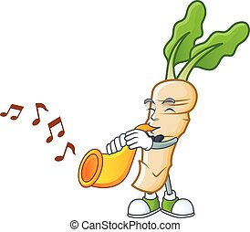 Cheerful horseradish cartoon character performance with trumpet. Vector illustration