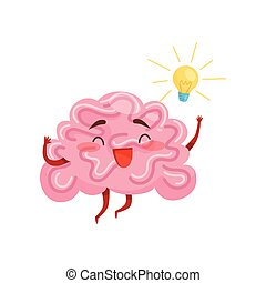 Cheerful humanized brain with great idea, yellow light bulb. Cartoon character with happy face expression. Flat vector icon