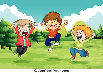 Cheerful - Men jumping with cheerful gesture in the nature
