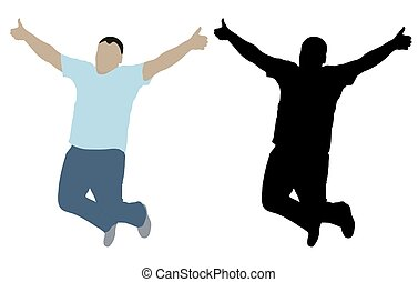 Cheerful jumping man with hands up, color and black silhouette. Vector illustration