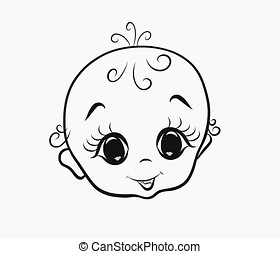 Cheerful kid with big eyes, head