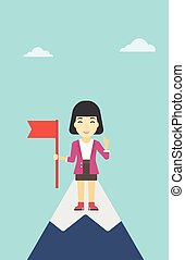 Cheerful leader business woman vector illustration