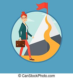 Cheerful leader woman. - A woman with a suitcase in hand...