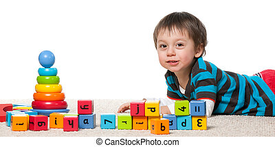 Cheerful learning of a little boy