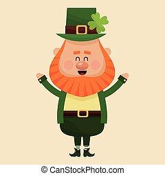 cheerful leprechaun hands up