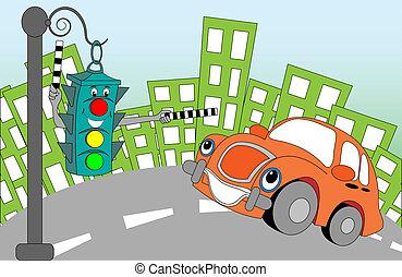 cheerful lights - Cheerful cartoon traffic light regulating...