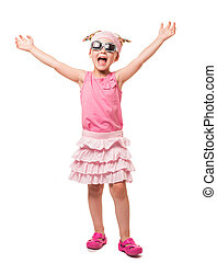 Cheerful little blonde in sunglasses with his hands raised up on white.