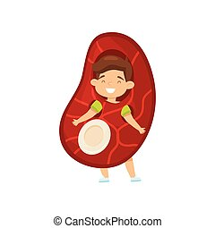 Cheerful little boy dressed as piece of meat steak with bone. Cartoon kid with happy face. Flat vector design