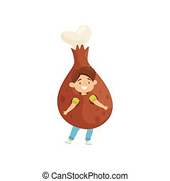 Cheerful little boy dressed in fried chicken leg costume. Kid with happy face. Outfit for carnival. Flat vector design