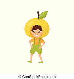 Cheerful little boy in apple headwear. Funny kid dressed as fruit. Preschool child with happy face. Flat vector design