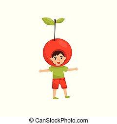 Cheerful little boy in headwear in form of red apple. Bright fruit costume. Happy preschool child. Flat vector design