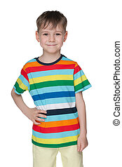 Cheerful little boy in striped shirt