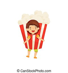 Cheerful little boy wearing pop corn costume. Funny child. Kid with happy face. Flat vector design