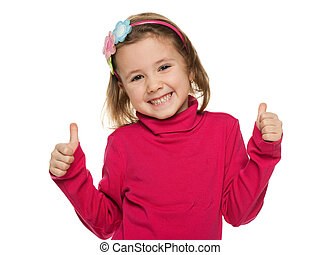 Cheerful little girl in red with her thumbs up