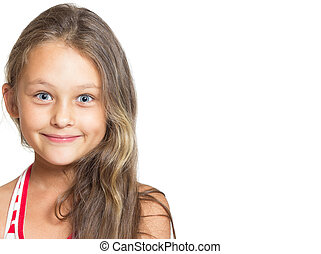 cheerful little girl on a white background isolated