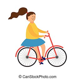 Cheerful little girl riding a bicycle flat vector illustration isolated.