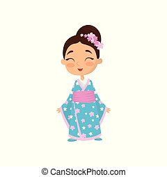 Cheerful little girl with flowers in hair wearing traditional Japanese dress. Child blue kimono with pink belt. Flat vector design