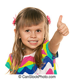 Cheerful little girl with her thumb up