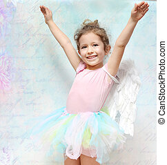 Cheerful little woman with beautiful smile