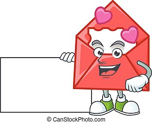 Cheerful love letter cartoon character having a board