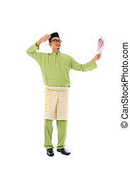 cheerful malay male with malaysian flag full body isolated...