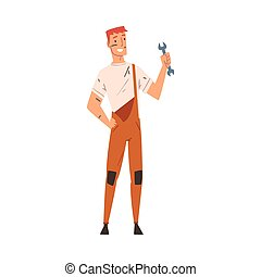 Cheerful Male Worker with Ppe Wrench in his Hand, Plumber Character in Overalls and Cap Vector Illustration on White Background