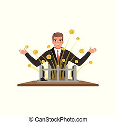 Cheerful man extracting bitcoins from mining farm. Digital...