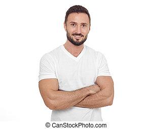 Cheerful man looking at camera