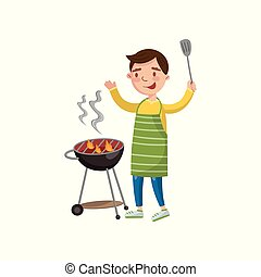 Cheerful man preparing barbecue on the barbecue grill cartoon vector Illustration