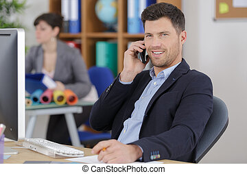 cheerful man using modern technology for communication