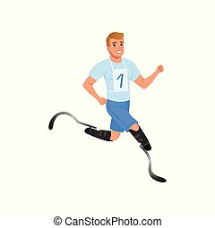 Cheerful man with artificial legs running marathon. Young guy with physical disabilities. Active lifestyle. Flat vector design