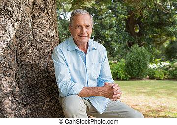 Cheerful mature man sitting on tree