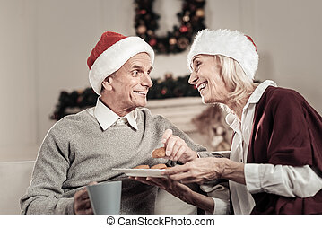 Cheerful mature people spending time with pleasure