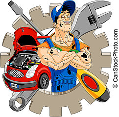 Cheerful mechanic - Abstract illustration of a cheerful ...