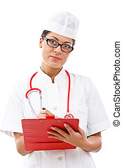 Cheerful medical doctor woman taking notes