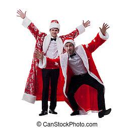 Cheerful men dressed as Santa Claus