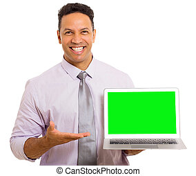 mid age businessman presenting laptop computer
