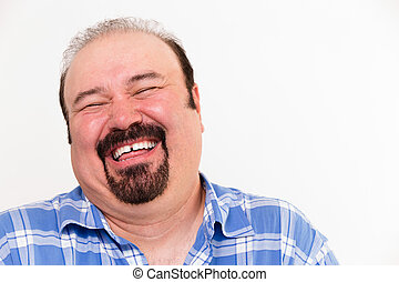 Cheerful middle-aged Caucasian man laughing loud