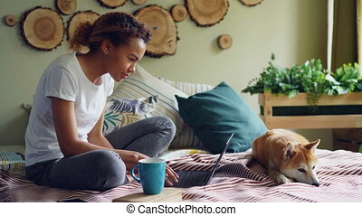 Cheerful mixed race student is using laptop doing homework sitting on bed at home while her adorable pet dog is resting near her. Modern technology and education concept.