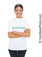 Cheerful model wearing volunteer tshirt posing