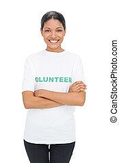 Cheerful model wearing volunteer tshirt posing