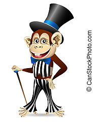 Cheerful monkey in dandy clothes - Funny illustration of...