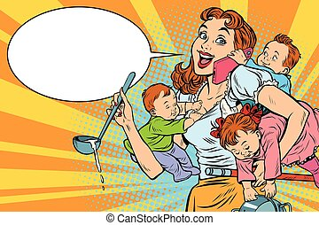 Cheerful mother with three children working and talking on...