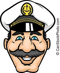 Cheerful moustached captain character in cap